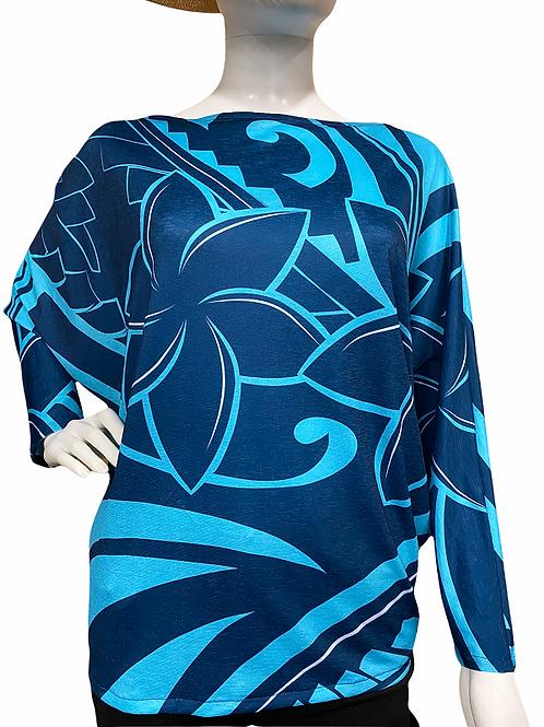 Dolman sleeve (Navy-Blue)Plumeria