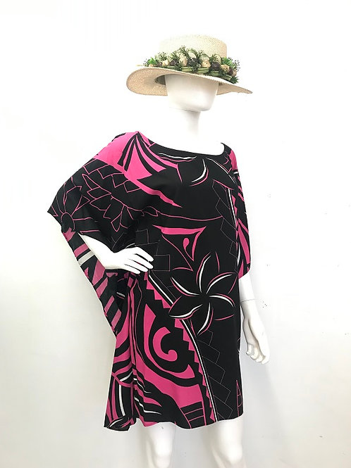 Baggy dress (Black-Pink)Plumeria