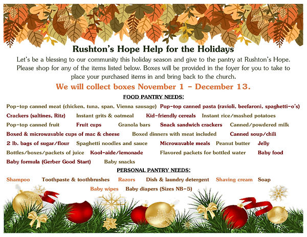 Rushton's Hope Help for the holidays 202