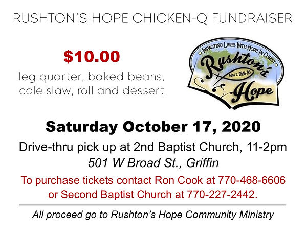 Tickets for Rushton's Hope Chicken Q ad.