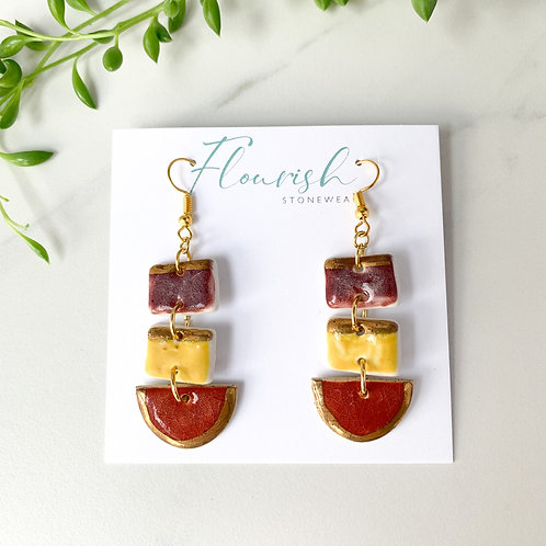 Porcelain Wine, Curry Yellow and Burnt Orange Gold Dangles