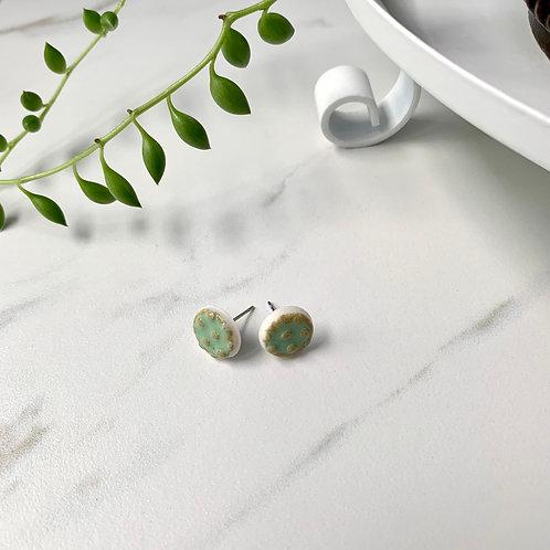 Mint green textured circle studs