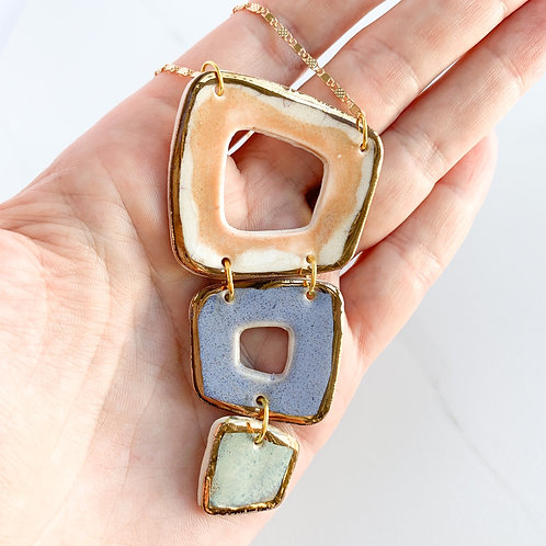 Blush, Lavender and Mint Green Abstract Square Necklace in Gold