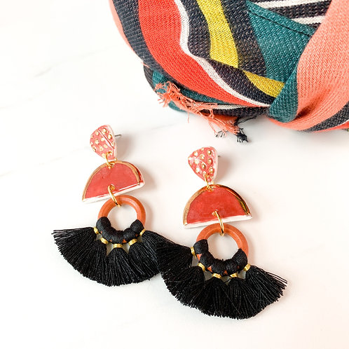 Burnt Orange and Gold Earrings with Black Tassels