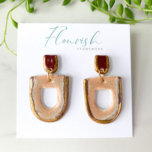 Blush Pink and Wine Geometric Earrings with Gold