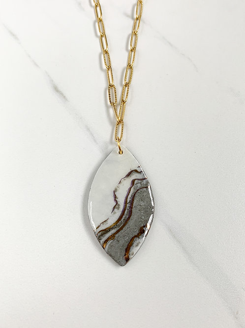 Marbled Oval Pendant and Gold Necklace