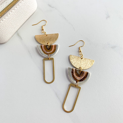 Arch Dangle Earrings in Gold and Grey
