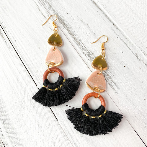 Olive Green, Blush Pink and Gold with Black Tassel