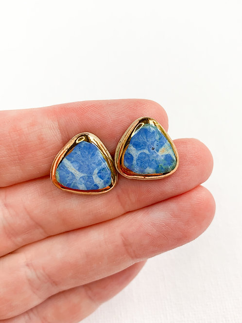 Periwinkle Soft Triangle Stud Earrings with Gold