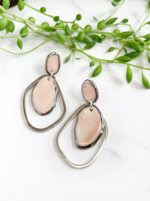 Pale Pink Abstract Oval Earrings with Silver