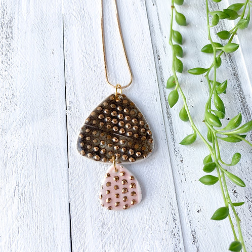 Charcoal Grey and Pale Pink with Gold Dots Necklace