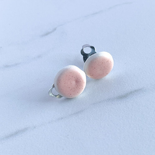 Pale Pink Clip-on Circle Studs
