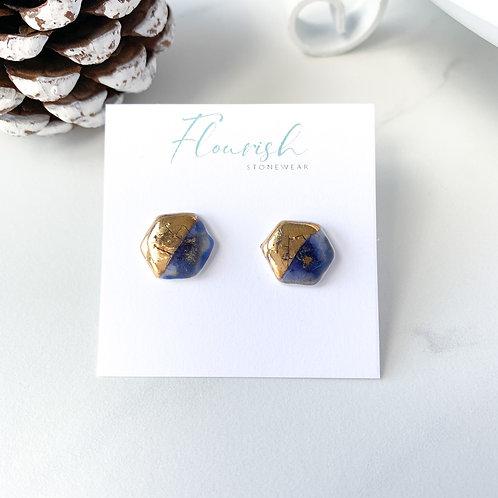 Cobalt Blue and Gold Hexagon Studs