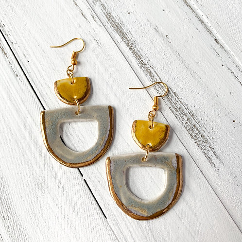 Curry Yellow and Blue-Grey with Gold Earrings