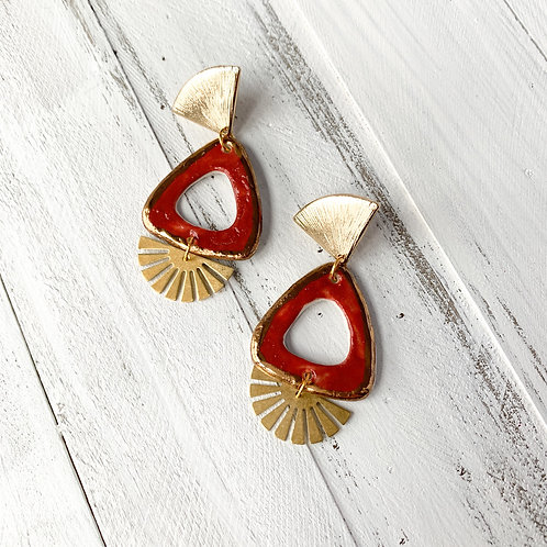 Burnt Orange and Gold Triangle Earrings