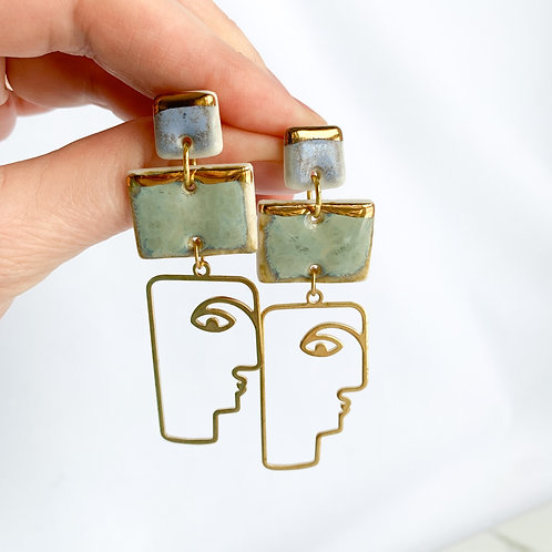 Lavender and Sage Green with Abstract Gold Face