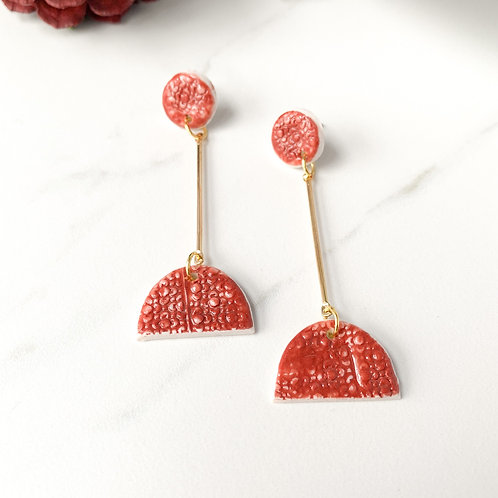 Burnt Orange Textured Halfmoon Dangles