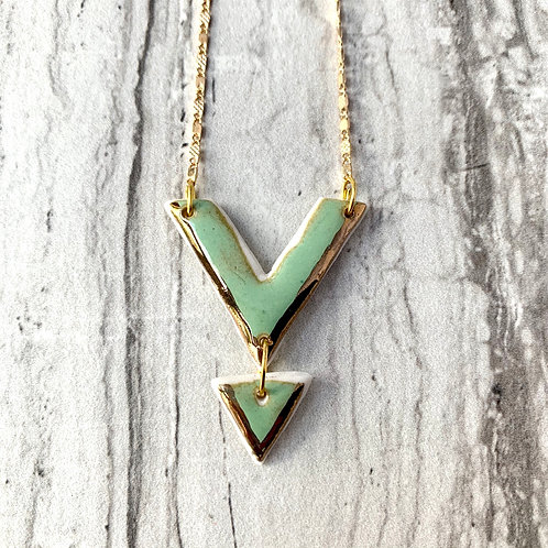 Mint Green Arrow and Arrow Necklace in Gold