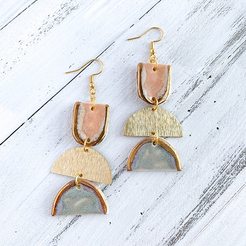 Blush with Gold and Blue Half-moon Dangle Earrings