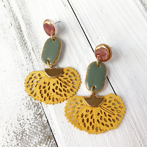 Wine and Army Green Earrings with Curry Yellow Tassels