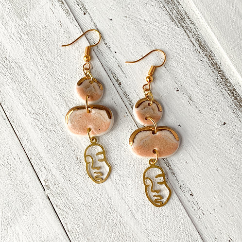 Blush Pink and Gold Abstract Face Earrings