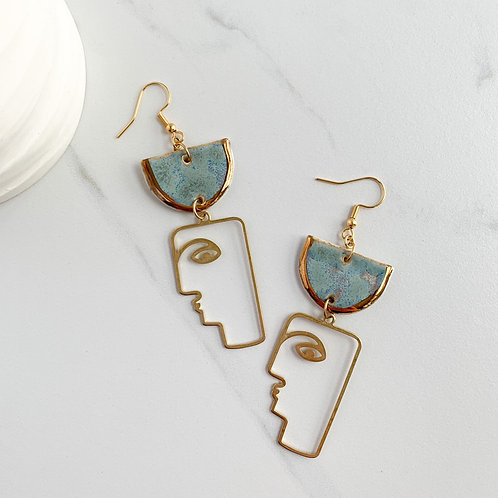 Sky Blue with Gold Half-moon Dangle Earring with Abstract Face