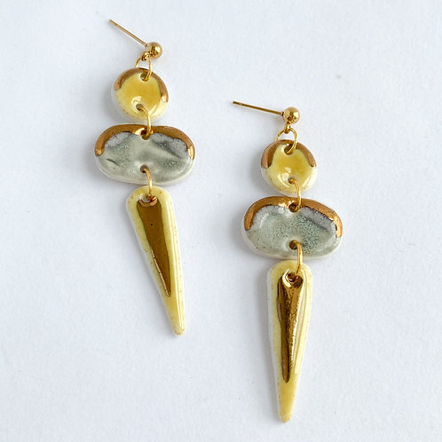 Sunflower and Grey Dangles with Gold