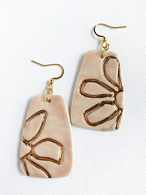 Pale Pink and Gold Floral Statement Earrings