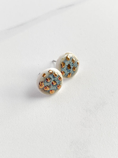 Lavender Circle Studs with Gold Dots