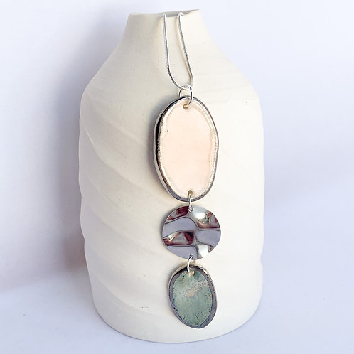 Pale Pink and Sage Green Pebble Necklace with Silver