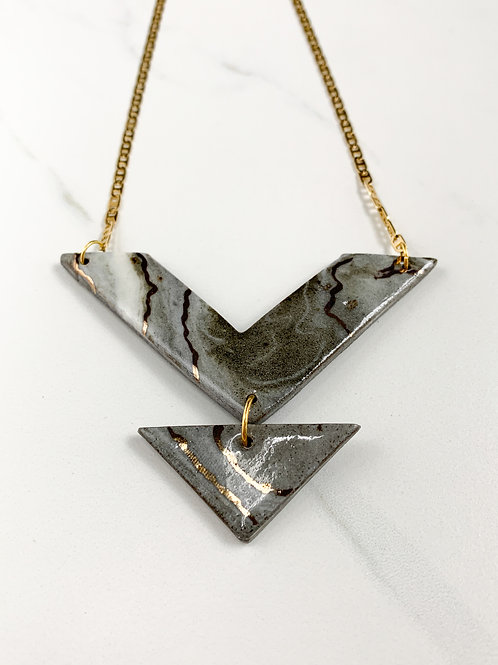 Marbled Arrow & Triangle Necklace