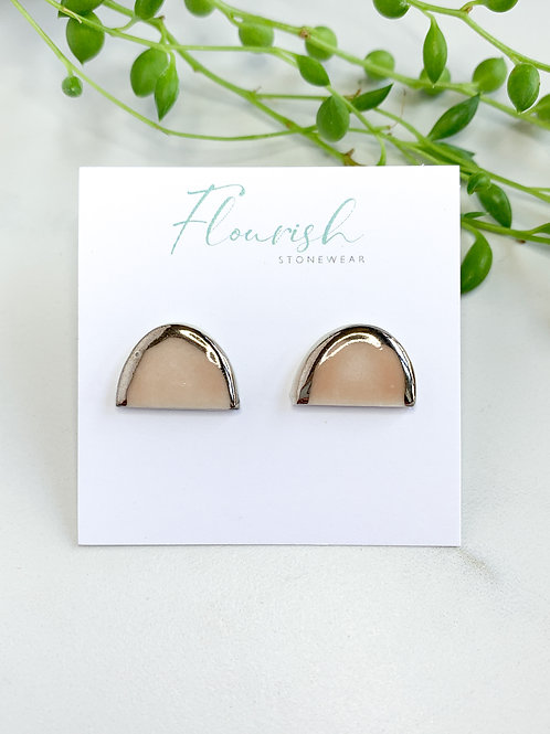 Pale Pink and Silver Arch Studs