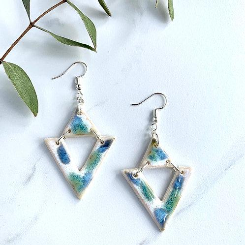 Blue & green 2pc triangle earrings in silver