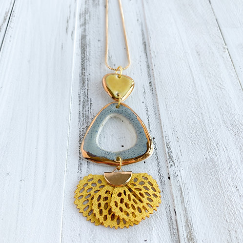 Sunflower Yellow and Sky Blue Necklace in Gold with Yellow Tassel