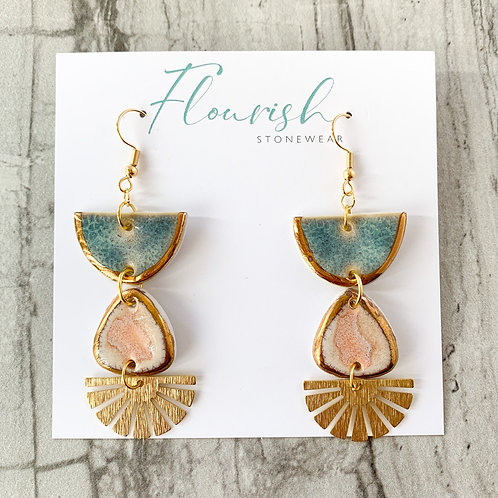 Blue-Grey Halfmoon and Blush Pink Triangle Earrings with Gold Fan