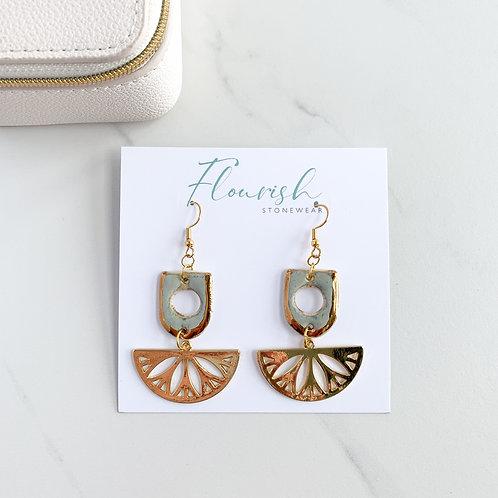 Blue-Grey Dangle Cut-Out Earrings with Gold Fan
