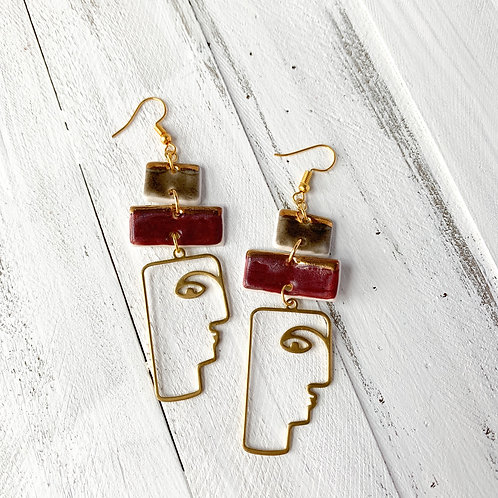 Charcoal Grey and Wine Earrings with Gold Abstract Faces