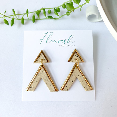 Speckled Clay and Gold Triangles and Arrow Dangles