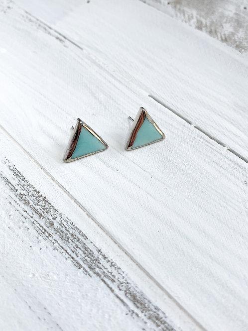 Aqua and Silver Triangle Studs