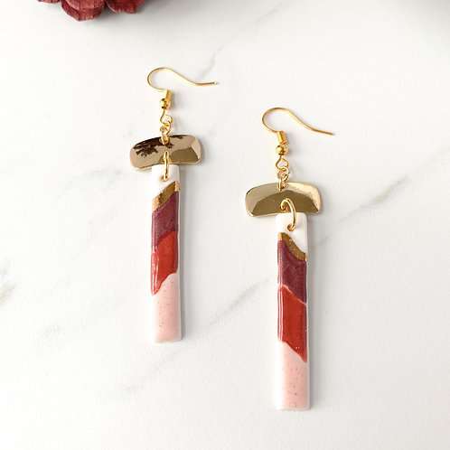 Wine, Burnt Orange and Blush Pink and Gold Rectangle Earrings