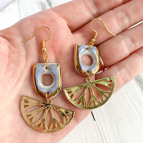 Lavender Cut-out Dangle Earrings with Gold Fans