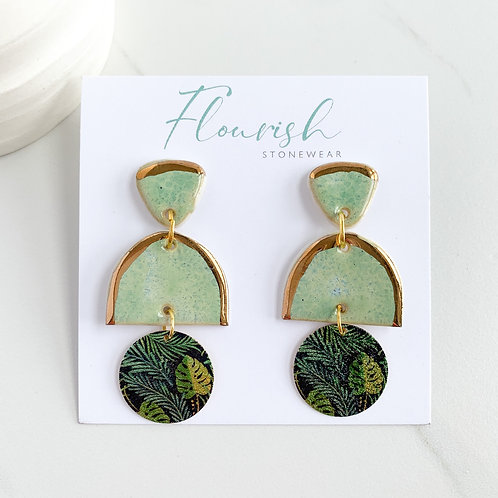 Mint Green and Gold Arch Dangle Earrings with Floral Circles