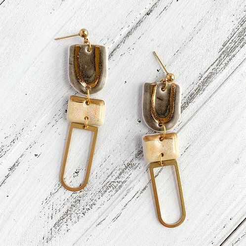 Charcoal Grey and Pale Yellow with Gold Dangle Earrings