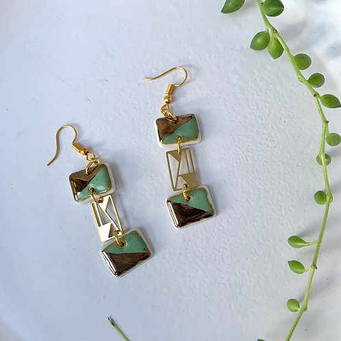 Mint and gold geometric dangles