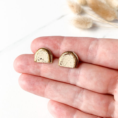 Speckled Clay Arch Studs with Gold