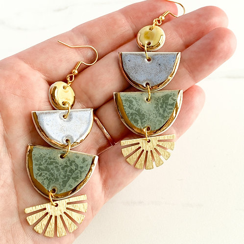Sunflower, Lavender and Sage Halfmoons with Gold