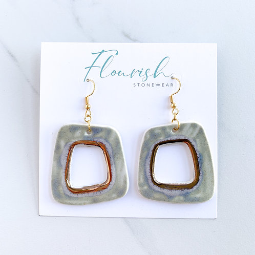 Grey with Gold Abstract Square Dangle Earrings