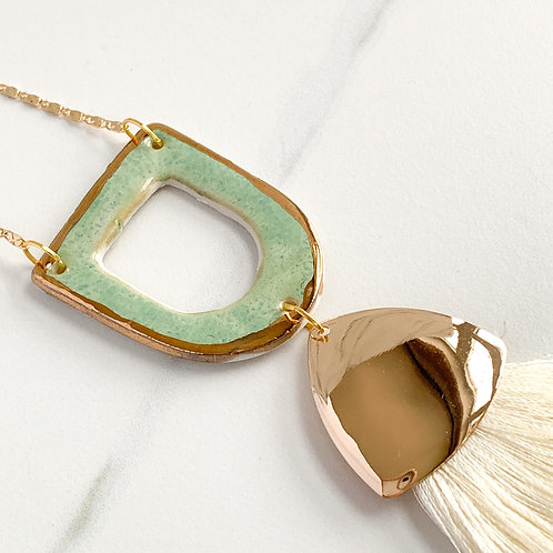 Mint Green and Gold Statement Necklace with Ivory Tassel