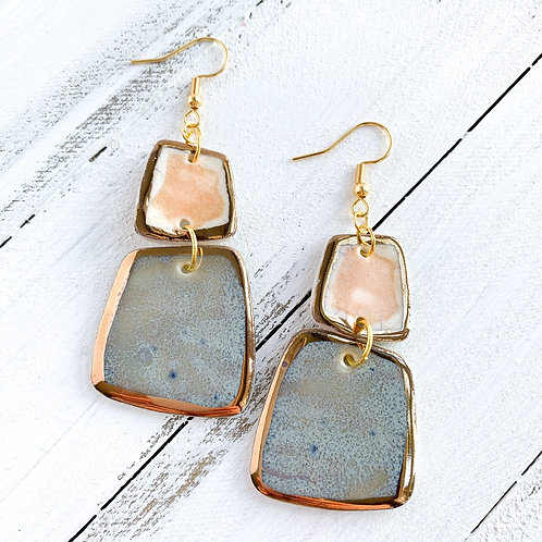 Blush and Blue-Grey Abstract Square Dangle Earrings