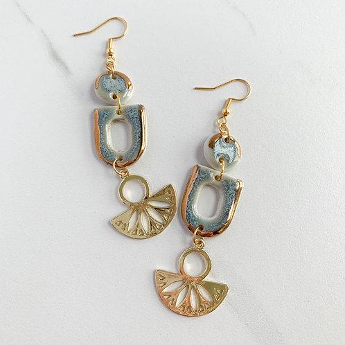 Sky-Blue and Gold Dangle Fan Earrings
